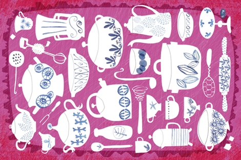 Nana's blue + white kitchen  fabric by pattyryboltdesigns on Spoonflower - custom fabric