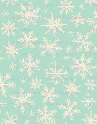 snowflakes on mint