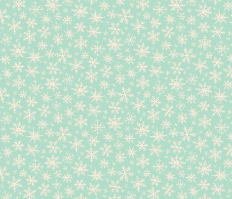 snowflakes on mint fabric by kelseycarlsonart on Spoonflower - custom fabric