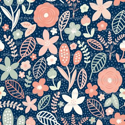 Summer Floral Navy Peach