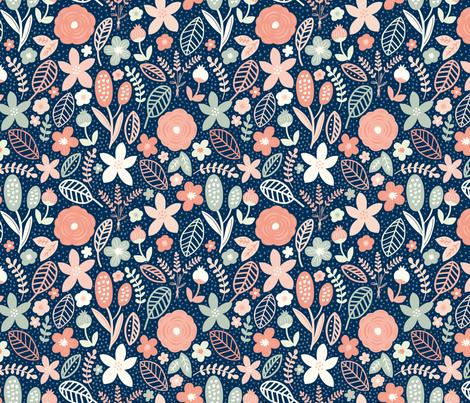 Summer Floral Navy Peach fabric by bethschneider on Spoonflower - custom fabric