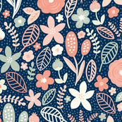 Summer Floral Navy Peach