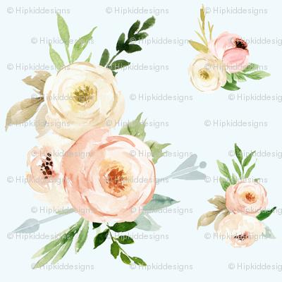 Boho Blush and Ivory Florals // Whisper Blue