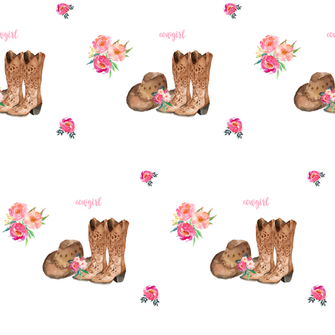 "4"" Cowgirl Floral Boots & Hat fabric by shopcabin on Spoonflower - custom fabric"