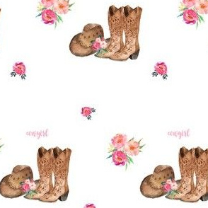 "4"" Cowgirl Floral Boots & Hat"
