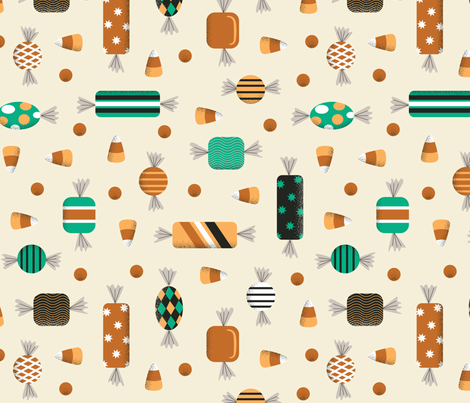 Retro Halloween Candy in Cream fabric by mintgreensewingmachine on Spoonflower - custom fabric