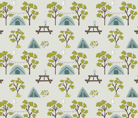 Tents Under Moonlight fabric by heidiwest on Spoonflower - custom fabric