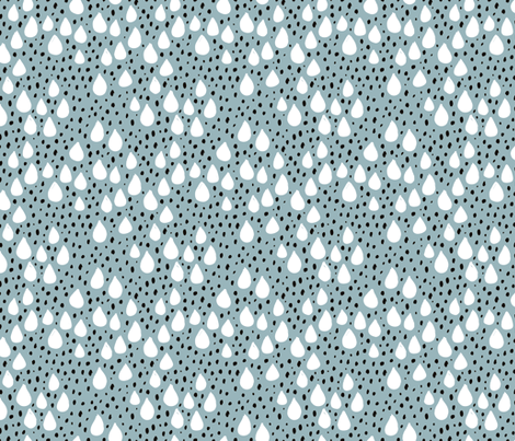 Abstract love and rain drops and dots geometric memphis style design winter fall ice blue snow fabric by littlesmilemakers on Spoonflower - custom fabric