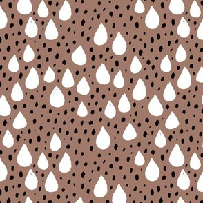 Abstract love and rain drops and dots geometric memphis style design winter fall ice brown snow