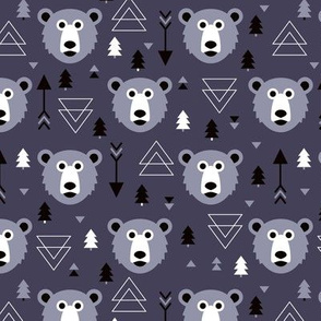 Christmas tree grizzly bear with arrows and geometric triangle shapes winter lilac
