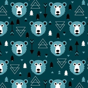 Christmas tree grizzly bear with arrows and geometric triangle shapes winter blue