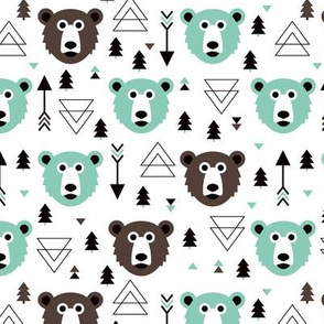 Christmas tree grizzly bear with arrows and geometric triangle shapes winter mint