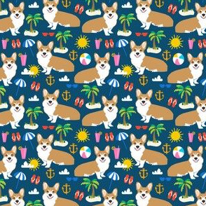 beach corgi cute tropical beach summer corgis beach fabric best summer sun palm trees dogs fabric