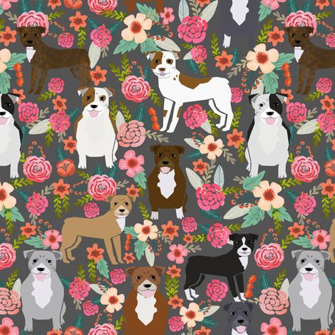 pitbull florals flowers dog pitbull terrier dogs dog fabric cute dog dogs pitbull florals  fabric by petfriendly on Spoonflower - custom fabric