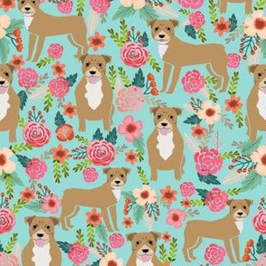 pitbull terriers florals mint pitbull dogs cute dog rescue dogs fabric