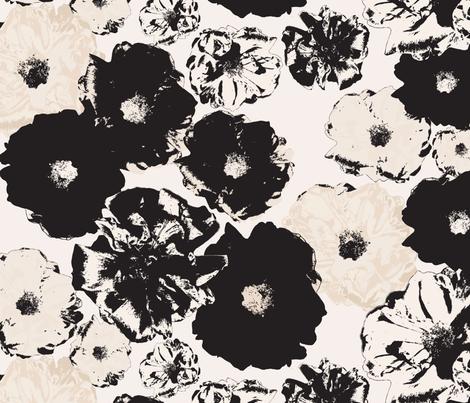 Vintage Rose | Black & Cream fabric by lottalorier on Spoonflower - custom fabric