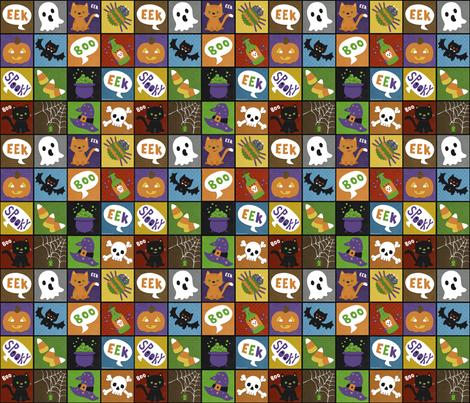 Halloween Squares on Black fabric by beckadoodles on Spoonflower - custom fabric