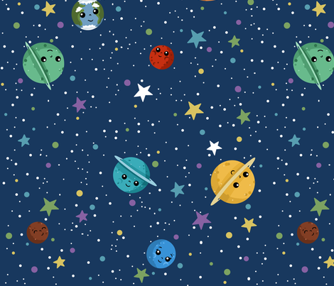 Outer space cuteness on blue wallpaper beckadoodles for Outer space material