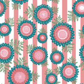 Doodle flowers on stripes