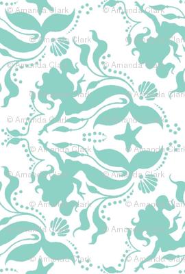 Mermaid damask - Neptune - rotated