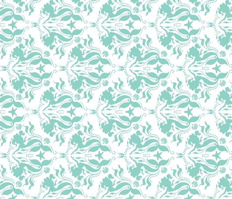 Mermaid damask - Neptune - rotated fabric by sugarpinedesign on Spoonflower - custom fabric