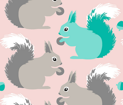 Squirrels (on baby pink)
