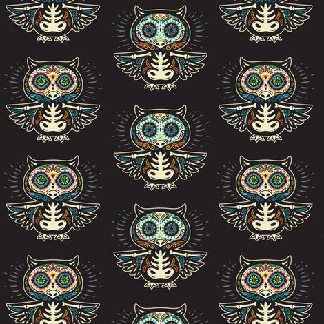 Sugar owls skull fabric by penguinhouse on Spoonflower - custom fabric