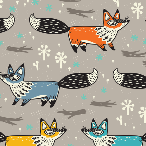 Foxes big scale fabric by penguinhouse on Spoonflower - custom fabric