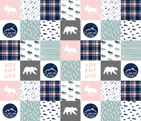 the happy camper (dusty blue and rose) || camping wholecloth fabric by littlearrowdesign on Spoonflower - custom fabric