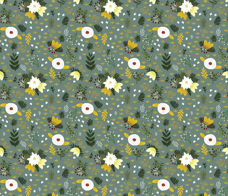 Merry Fields - Gray Teal fabric by ginamayes on Spoonflower - custom fabric