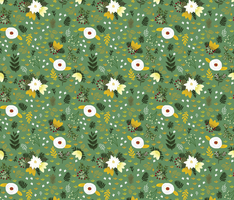 Merry Fields - Green fabric by ginamayes on Spoonflower - custom fabric