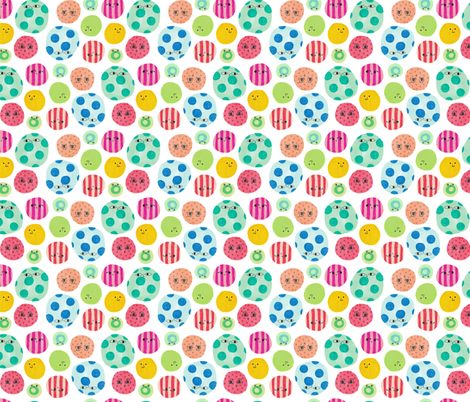 Colorful Circle Faces fabric by littleoddforest on Spoonflower - custom fabric