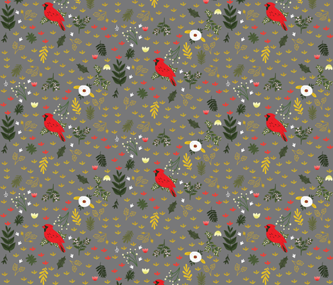 Cardinals - Warm Gray fabric by ginamayes on Spoonflower - custom fabric