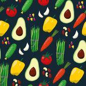 Vegetables on dark