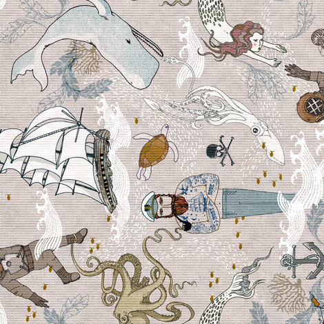 Cephalopods + Old Sea Dogs (small) RAILROAD  fabric by nouveau_bohemian on Spoonflower - custom fabric