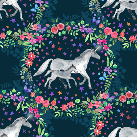 Mama and Baby Unicorn in a Flower Circle fabric by micklyn on Spoonflower - custom fabric