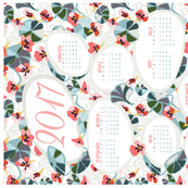 2017 flower garden tea towel calendar