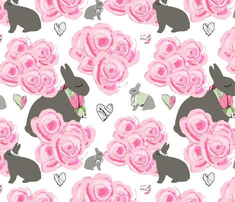 Bunnies_in_my_roses fabric by karenharveycox on Spoonflower - custom fabric