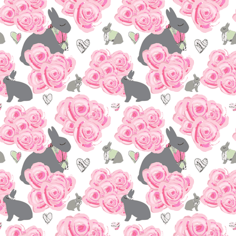 Bunnies in my roses, Shabby Chic watercolor roses, pink and gray fabric by karenharveycox on Spoonflower - custom fabric