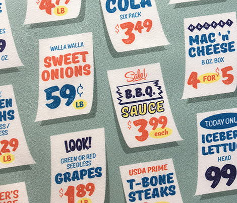 Weekly Specials* (Multi on Camouflage) || grocery market supermarket store sale sign poster typography lettering food fruit price numbers