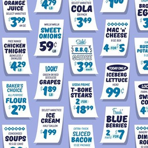Weekly Specials* (Blue on Ultraviolet) || grocery market supermarket store sale sign poster typography lettering food fruit price numbers