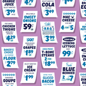 Weekly Specials* (Blue on Lavender Disaster) || grocery market supermarket store sale sign poster typography lettering food fruit price numbers
