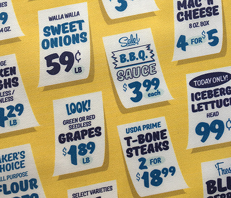 Weekly Specials* (Blue on Velvet Banana) || grocery market supermarket store sale sign poster typography lettering food fruit price numbers