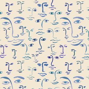 indigo faces : blue/cream