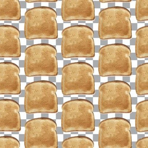 Retro Toast on Gray white check checkerboard Food_Miss Chiff Designs
