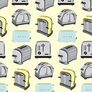 Vintage Retro  Toaster Toast Kitchen Breakfast Food  Pale yellow pastel blue gray _Miss Chiff Designs