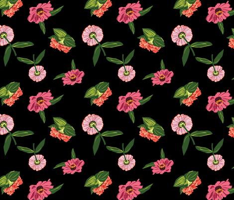 Floating Zinnias fabric by floradore on Spoonflower - custom fabric