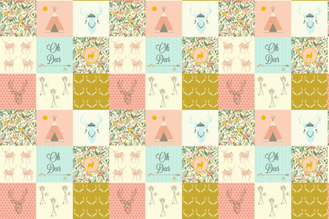 "DEER FLORAL PINK 6"" fabric by moosedesigncompany on Spoonflower - custom fabric"