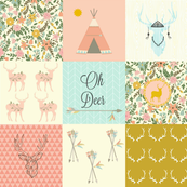 DEER FLORAL PINK WHOLECLOTH