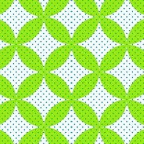 Green Circles with Blue Dots